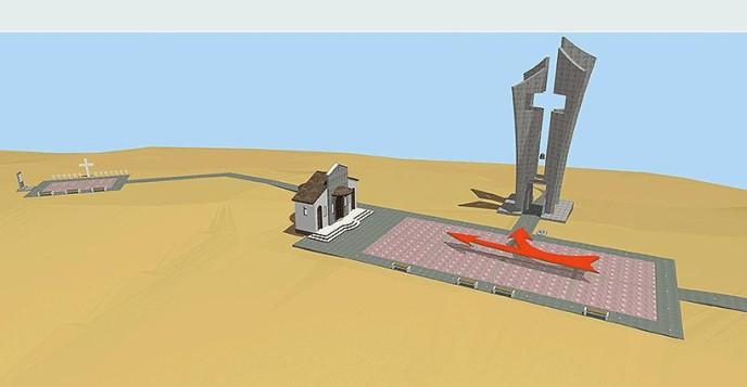 """Memorial space at the Naval Base """"Evangelos Florakis"""" in Mari, Cyprus."""