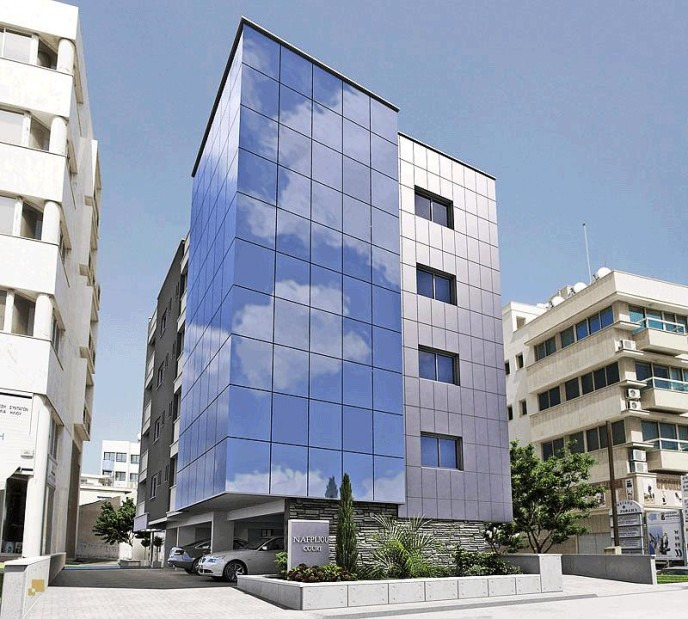 Modern architecture for offices and apartments in Nafpliou Court in Limassol, Cyprus.