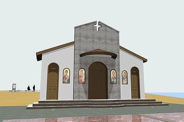 "Modern looking christian temple in the Monumental complex at the Naval Base ""Evangelos Florakis"" in Mari, Cyprus."